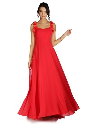 Pierre Cardin Şifon Askı Çiçekli Uzun Abiye Elbise Kırmızı